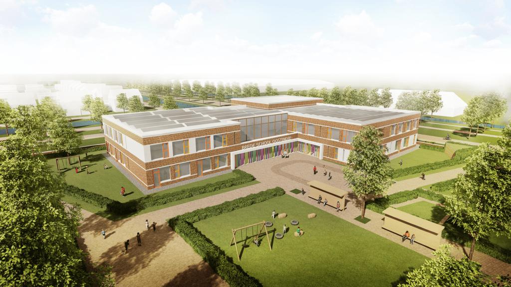 Bekendmaking naam gebouw en inloopbijeenkomst buitenruimte nieuwe brede school Oostindie Leek